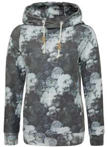 Ladies allover print Hoody Black Rose